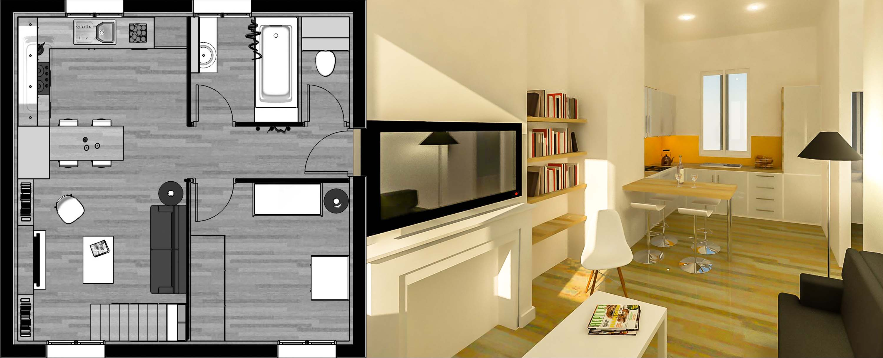 am nager une petite surface archid codesign. Black Bedroom Furniture Sets. Home Design Ideas